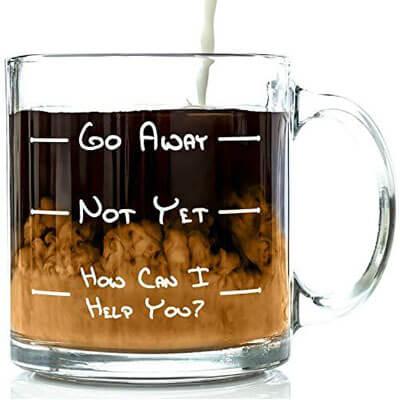 Go Away Funny Glass Coffee Mug 13 oz