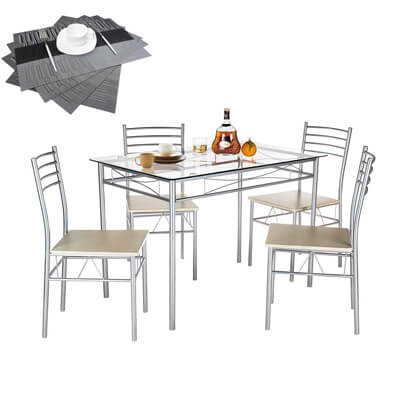 VECELO Dining Table with 4 Chairs [4 Placemats