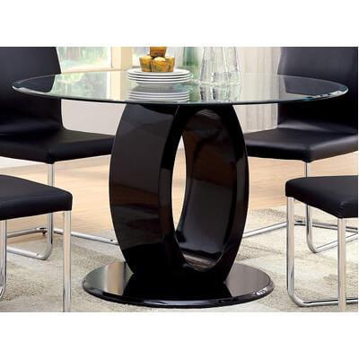 Furniture of America Quezon Round Glass Top