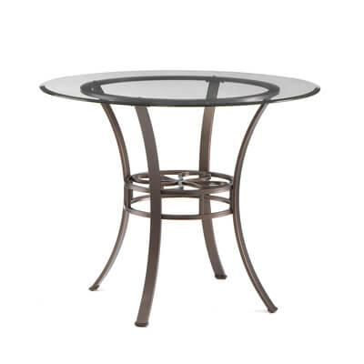 Lucianna Round Dining Table - Glass Top w/ Brown