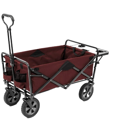 Mac Sports Collapsible Outdoor Utility Wagon with Folding Table and Drink Holders