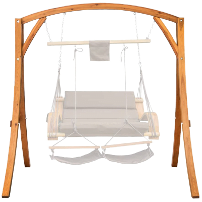Lazy Daze Hammocks Deluxe Wooden Arc Frame Hammock Swing Chair Stand Heavy Duty Russian Pine Hardwood