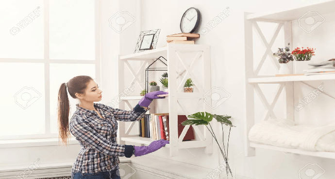 Clean bookshelves and your desk