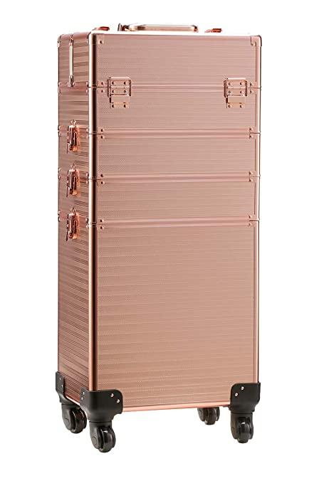 Rolling Train Case 4 in 1 Portable Makeup Train Case